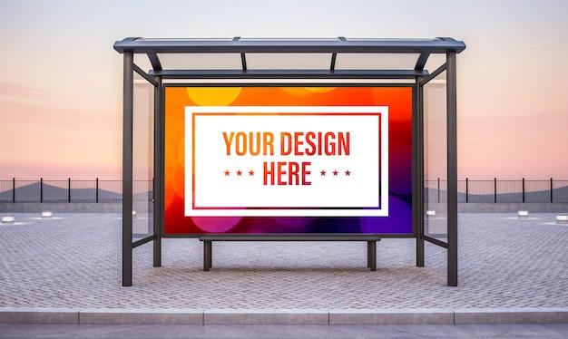 Arrêt de bus avec grande maquette de publicité horizontale rendu 3d