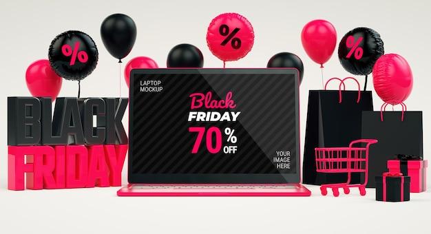 Arrière-plan de flyer vente vendredi noir avec maquette d'écran d'ordinateur portable et trucs en rendu 3d