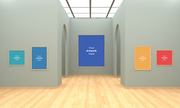 Art gallery frames muckup illustration 3d et rendu 3d avec arc