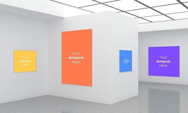 Art gallery frames muckup illustration 3d et vue d'angle de rendu 3d
