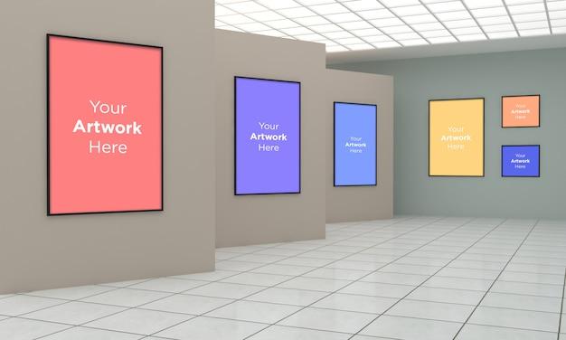 Art gallery multi frames muckup illustration 3d et rendu 3d