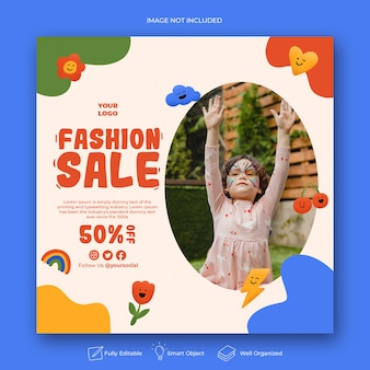 Article instagram de vente de mode de dessin animé