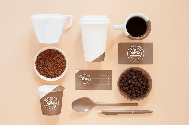 Articles de marque de café vue de dessus