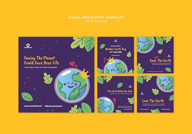 Articles sur les médias sociaux de la fête de la terre