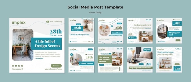 Articles sur les réseaux sociaux de design d'intérieur