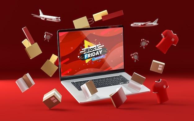 Articles de vendredi noir 3d sur fond rouge