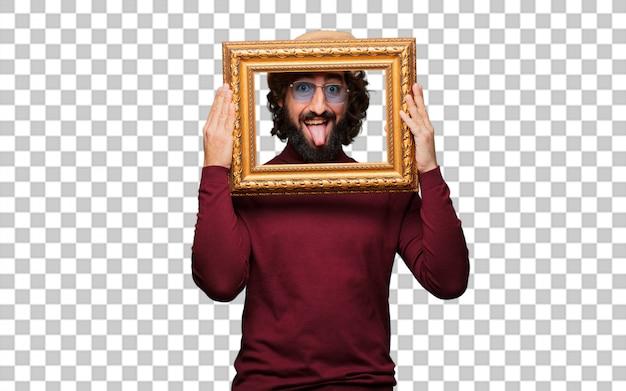 Artiste français avec un béret avec un cadre baroque