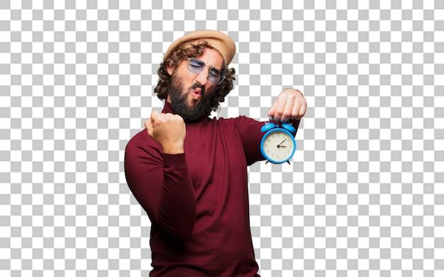 Artiste français avec un béret avec une horloge