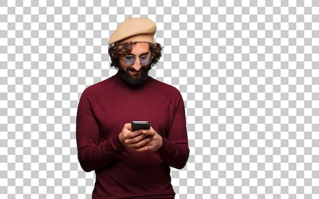 Artiste français avec un béret et un téléphone portable