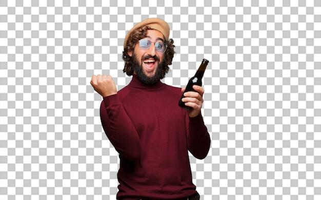 Artiste français avec un béret tenant une bière