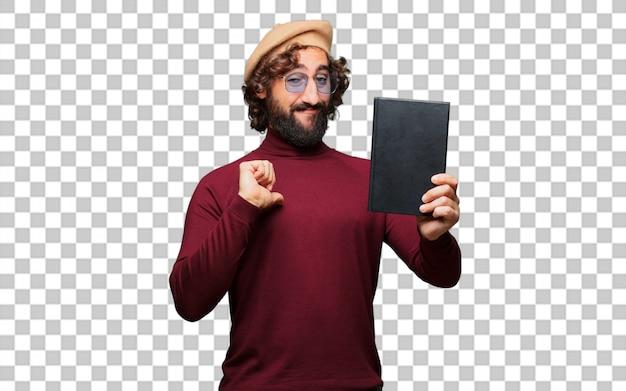 Artiste français avec un béret tenant un livre
