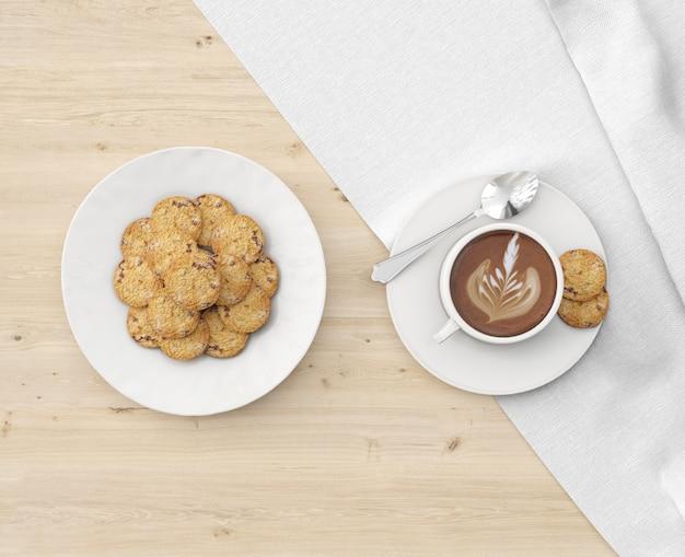 Assiette de biscuits et chocolat chaud