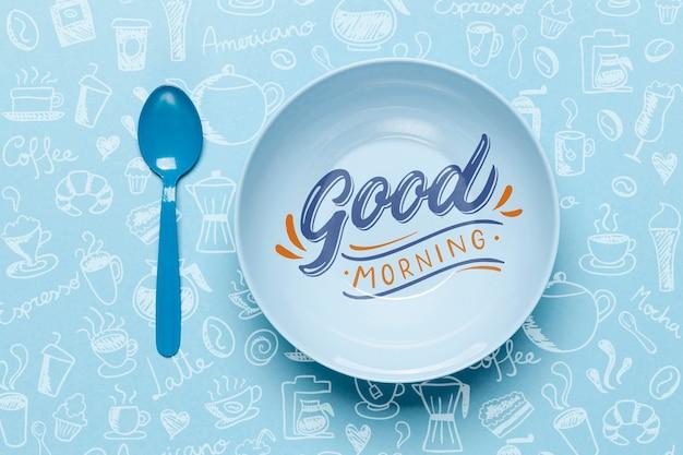 Assiette avec un bon message du matin