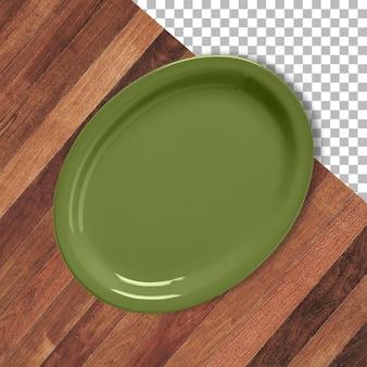 Assiette en céramique vide colorée isolée sur fond transparent en bois.