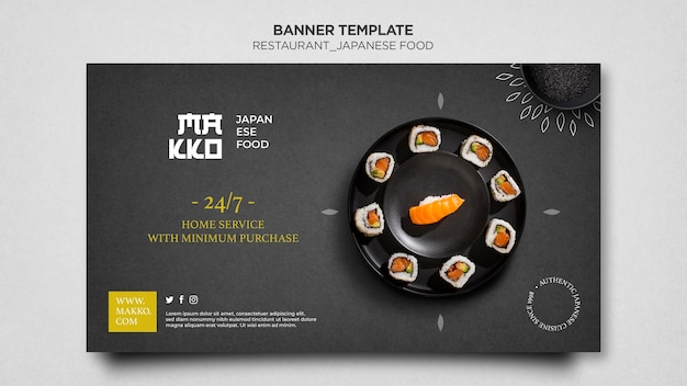 Assiette avec modèle web de bannière de sushi