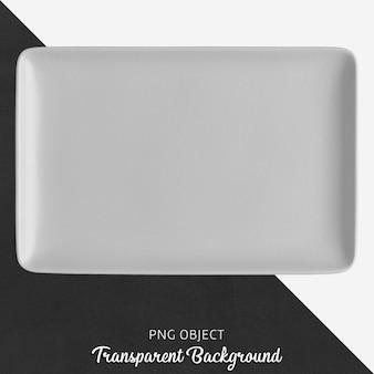 Assiette rectangulaire en céramique ou en porcelaine grise transparente