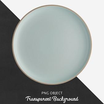 Assiette ronde bleue en céramique sur fond transparent