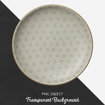 Assiette ronde transparente à motifs, marron, céramique ou porcelaine