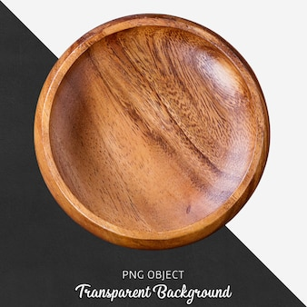Assiette de service ronde en bois sur fond transparent