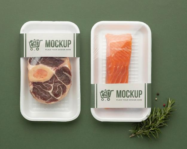 Assortiment d'aliments surgelés avec emballage maquette