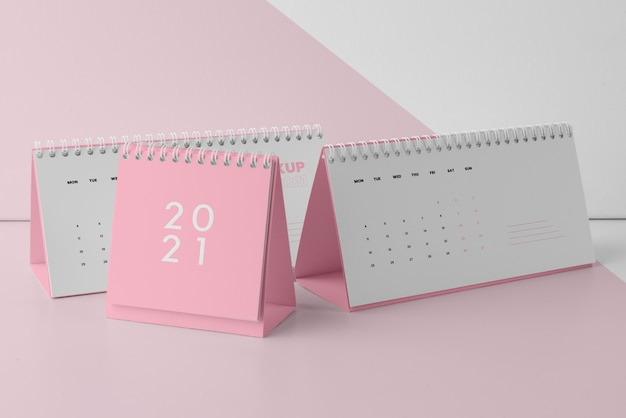 Assortiment de calendriers de maquette minimaliste