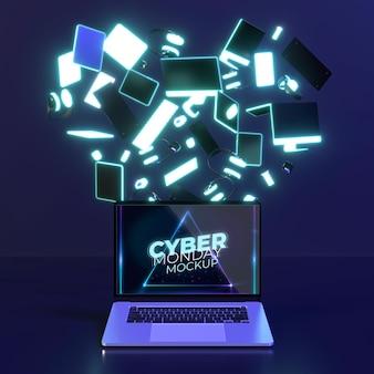 Assortiment cyber monday avec maquette d'ordinateur portable