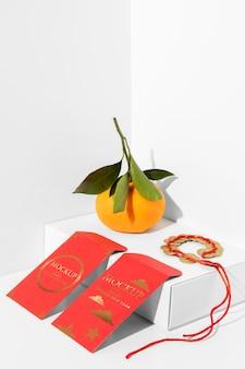 Assortiment d'éléments du nouvel an chinois