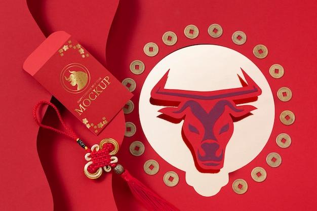 Assortiment d'éléments de maquette du nouvel an chinois