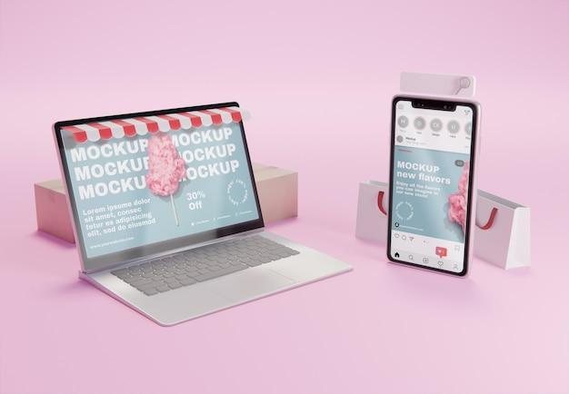 Assortiment d'entreprises créatives avec maquette d'ordinateur portable