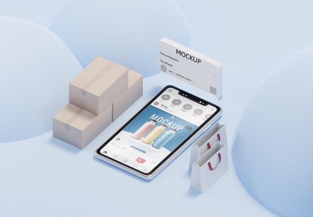 Assortiment d'entreprises créatives avec maquette de smartphone