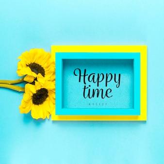 Assortiment de fleurs maquette de temps heureux