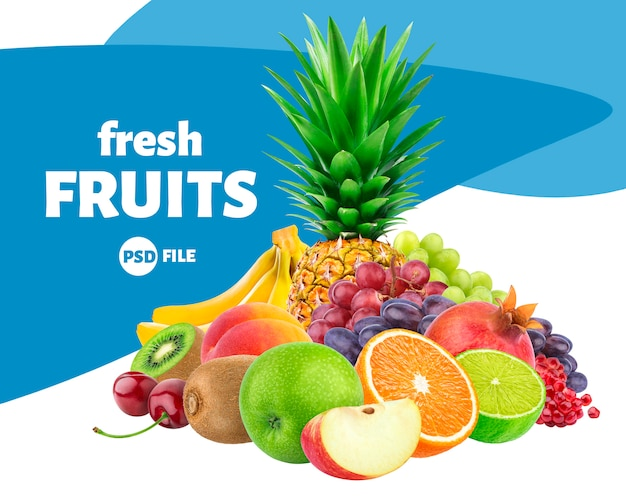 Assortiment de fruits et baies isolé sur blanc