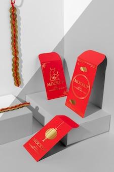 Assortiment isométrique du nouvel an chinois