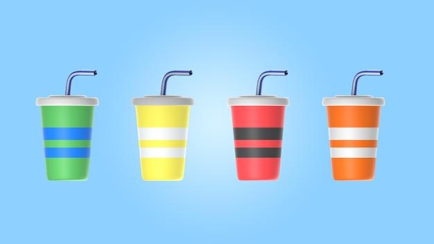 Assortiment de jus avec des tasses et des pailles maquette
