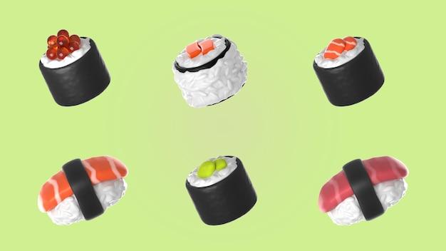 Assortiment de maquettes de collection de sushis