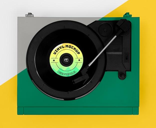 Assortiment de maquettes de disques vinyles vue de dessus
