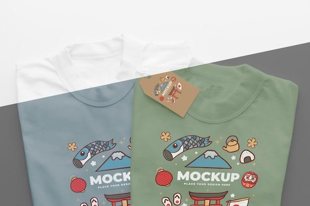 Assortiment de maquettes de t-shirts japonais