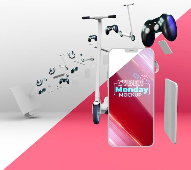 Assortiment de vente cyber monday avec maquette de téléphone intelligent