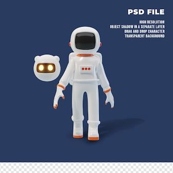 Astronaute 3d avec le robot