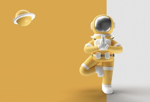 Astronaute de rendu 3d debout un fichier psd transparent de pose de yoga namaste reconnaissant.