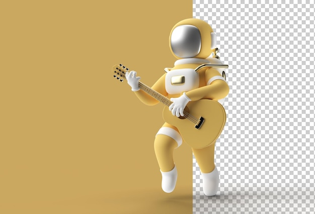 Astronaute de rendu 3d en jouant de la guitare