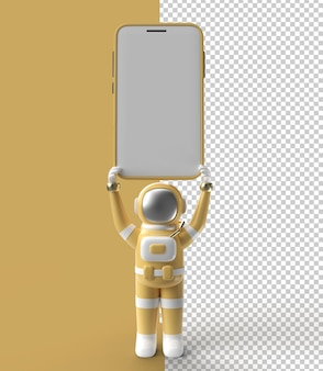 Astronaute tenant une maquette de smartphone