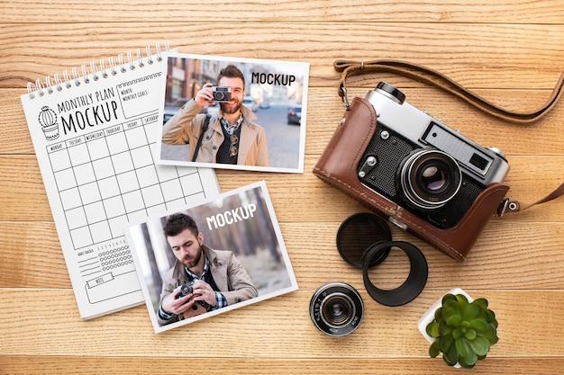 Atelier de photographe avec assortiment de maquettes photo