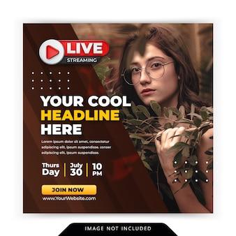 Atelier de streaming en direct modèle de publication sur les médias sociaux