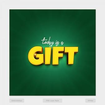 Aujourd'hui est un cadeau psd style d'effet de texte 3d psd
