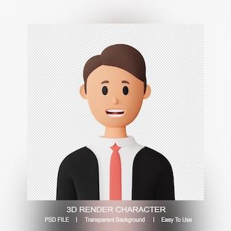 Avatar de dessin animé homme rendu 3d