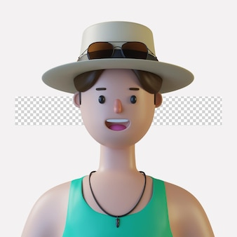 Avatar de personnage de dessin animé 3d isolé dans le rendu 3d
