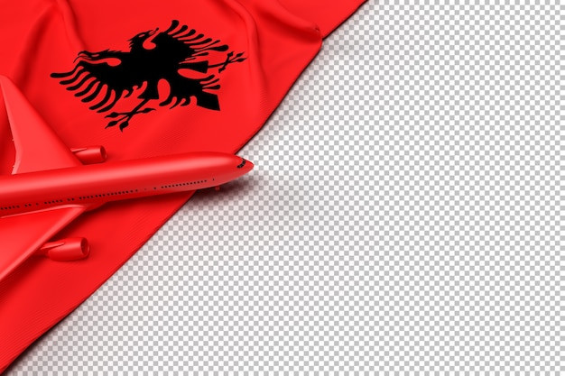 Avion de passagers et drapeau de l'albanie