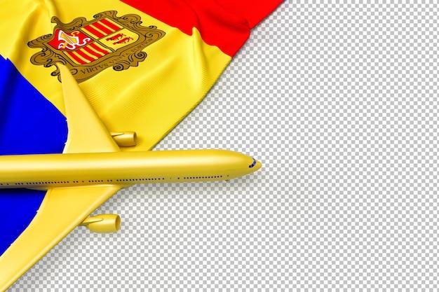Avion de passagers et drapeau d'andorre