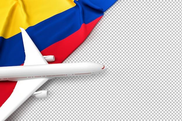 Avion de passagers et drapeau de la colombie